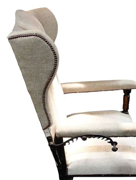 adjustable reclining upholstered wing chair 18th