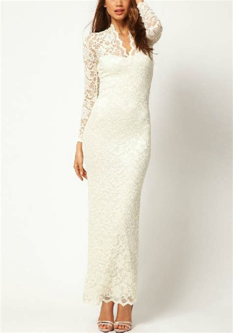 White Lace Sleeved Dress white lace dress dressed up