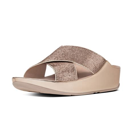fitflop sandal fitflop fitflop slide sandal in gold with a