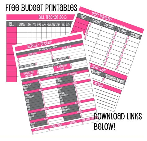 Galerry free printable financial budget planner