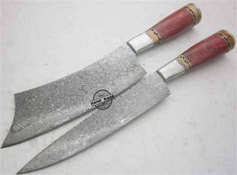 hand made kitchen knives lot of 2 pcs damascus kitchen knife custom handmade