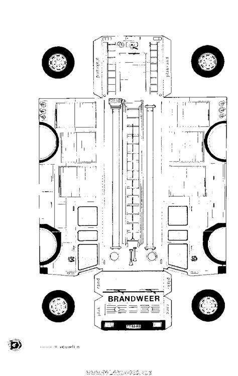 coloriage Camion de pompier à découper et à assembler