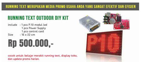 Promo Running Text Led P10 Merah 20x100cm home videotron indoneisa