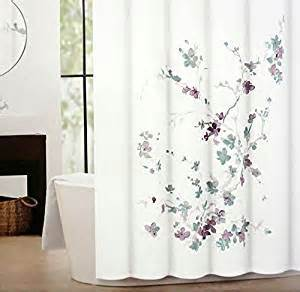 Plum Colored Shower Curtains Tahari Printemps Purple Plum Gray Teal On White Cotton Blend Shower Curtain Tree