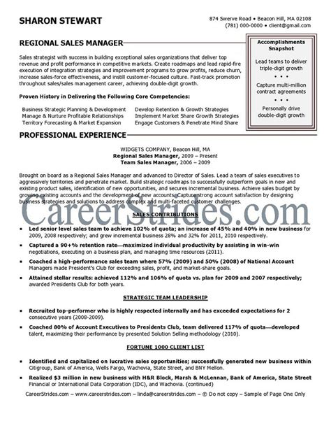 Regional Sales Sle Resume by Regional Sales Manager Resume Sle Exle