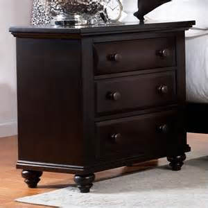 Black Nightstand With Drawers Broyhill Farnsworth 3 Drawer Stand In Inky Black Stain Traditional Nightstands And