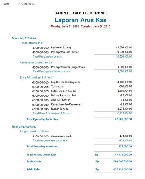 format laporan arus kas adalah contoh laporan keuangan untuk toko elektronik