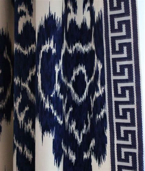 blue ikat drapes greek key ikat curtains blue white pinterest