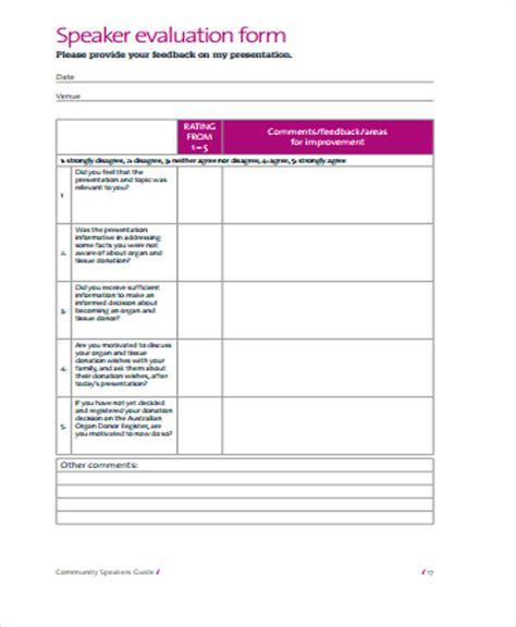 speaker evaluation form 10 sle speaker evaluation forms sle templates