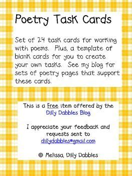 blank task cards template task cards poetry and blank cards on