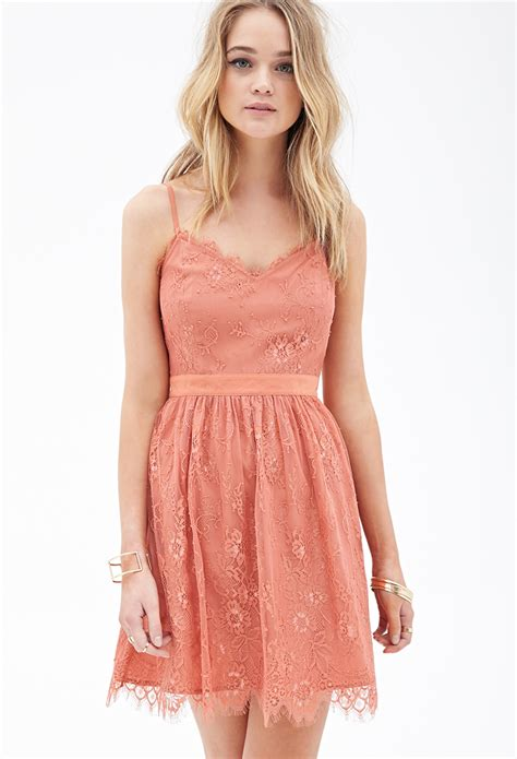 Forever21 Lace Dress forever 21 eyelash lace dress in pink coral lyst