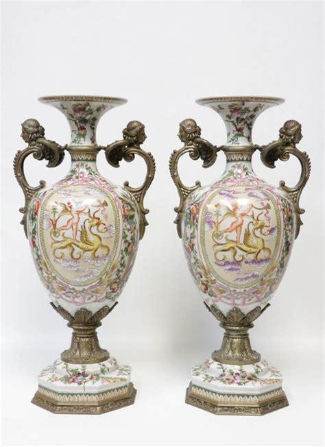 European Vases by Pair Of European Porcelain Vases
