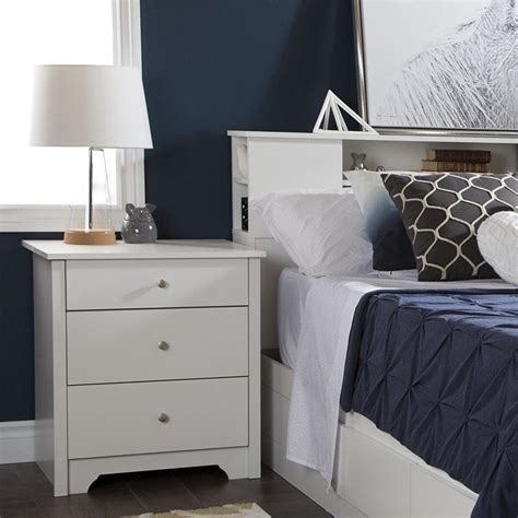 south shore vito nightstand with charging station and south shore vito nightstand in pure white 3150060