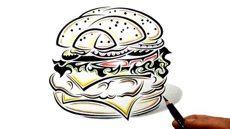 hamburger tattoo how to draw a cheese burger tribal design style