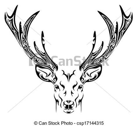 vector clip art of abstract deer head tribal tattoo