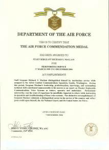 Air Commendation Medal Template by Af Achievement Medal Citation Exles Pictures To Pin On