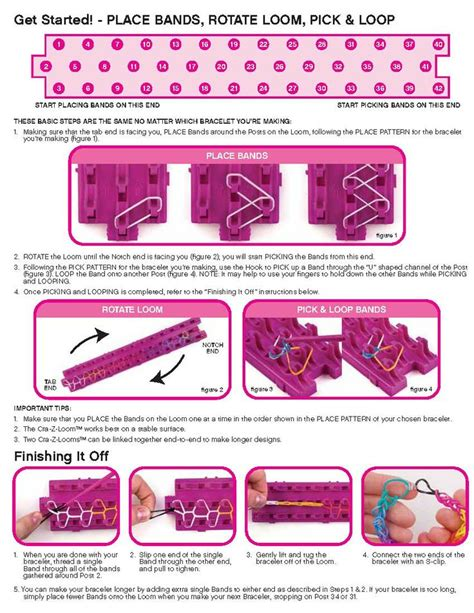 printable instructions loom bands cra z loom instructions page 2 rainbow loom looms