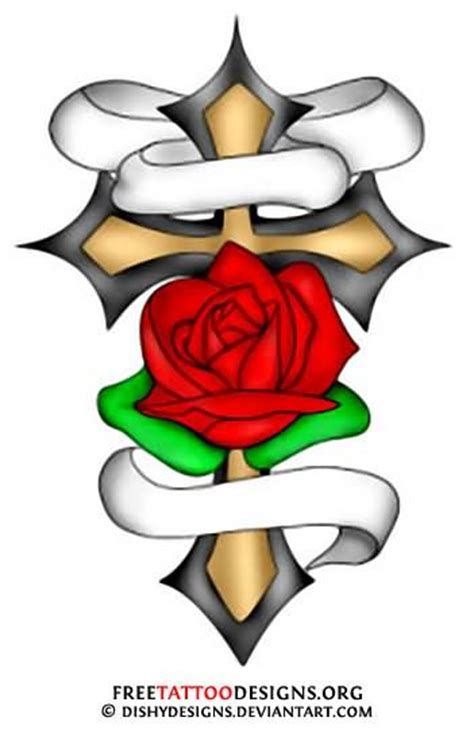 rose with cross tattoo designs cross images designs