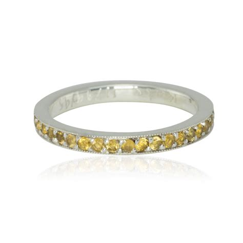 wedding band november birthstone citrine 14k gold