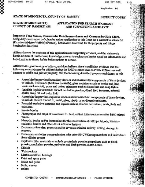 Minnesota Warrants Search State Of Minnesota Application For Search Warrant Against Rnc Protesters Indybay