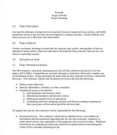 marketing scope of work template scope of work template 9 free pdf documents
