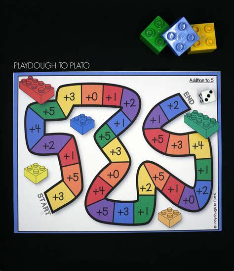 printable math board games kindergarten lego addition and subtraction playdough to plato