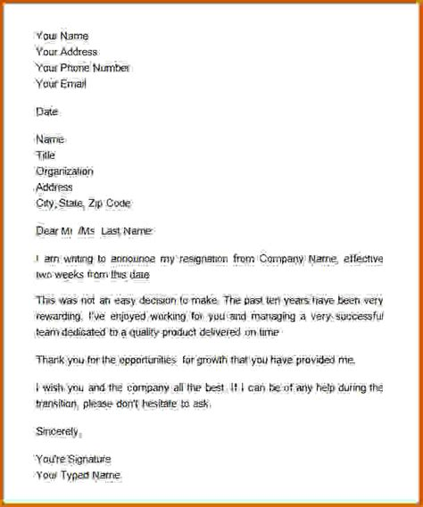 Formal Letter Kinds 10 How To Type Two Weeks Notice Lease Template