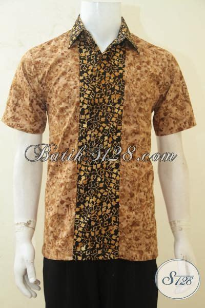 Baju Cowok Jawa hem batik jawa modern untuk pria baju batik lengan pendek keren proses cap smoke bisa untuk
