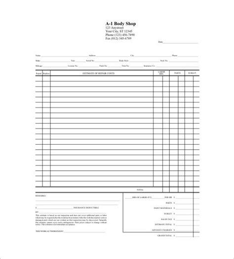 blank estimate form template blank estimate template free premium