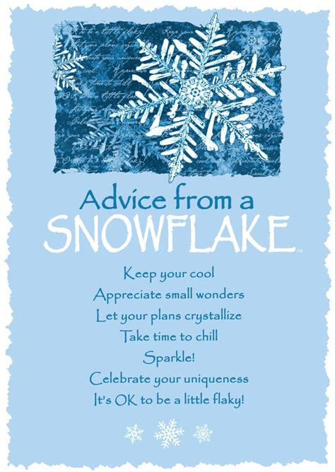 advice   snowflake greeting card blank  true nature