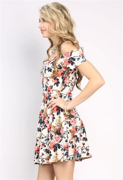 Shoulder Floral Minidress open shoulder floral mini dress shop the shoulder at