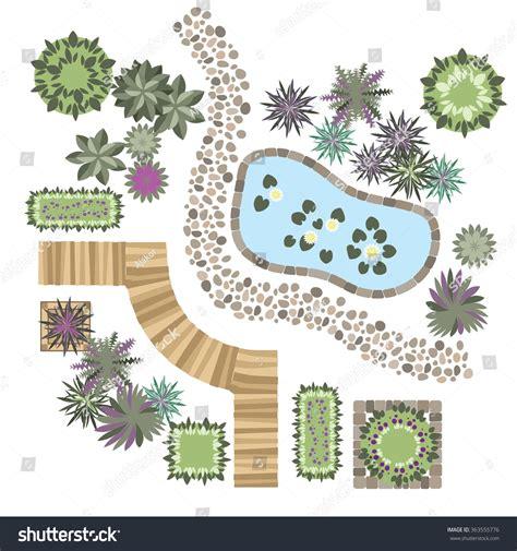 elements of landscape design set vector elements landscape design different stock vector 363555776
