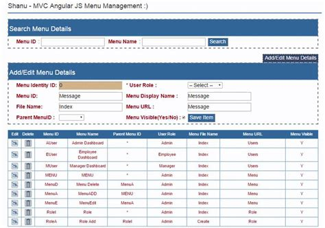 menu design in mvc asp net mvc user role base menu management using web api