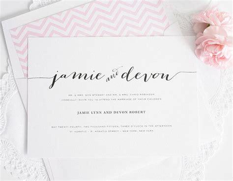 wedding invitations guest names printed calligraphy wedding invitation pink chevron