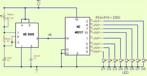 layout rangkaian running led running light chaser circuit