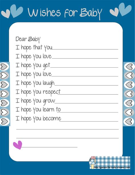 baby wish list template free printable baby shower wishes for the baby