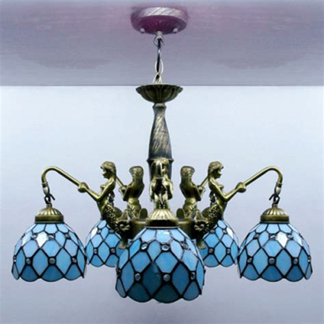 blue stained glass table ls mermaid supported 24 inch five light chandelier in