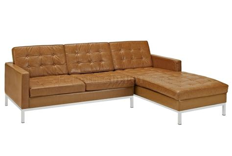loft sectional loft sectional sofa in tan leather by modway