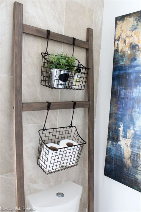 Light And Bright Master Bathroom Makeover Hanging Bathroom Hanging Storage