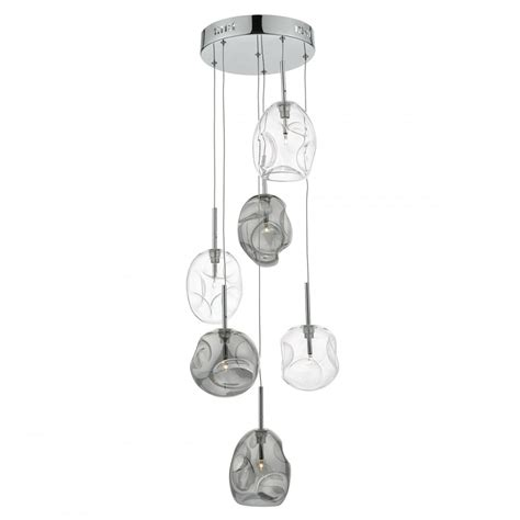 smokey glass pendant light decorative organic shaped clear and smokey glass cluster