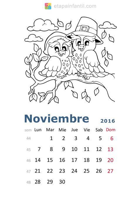 calendario para colorear calendario noviembre 2016 para escribir related keywords