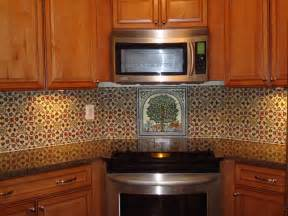 painted tile backsplash mediterranean kitchen
