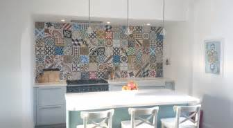 Moroccan Tile Kitchen Backsplash moroccan encaustic tile kitchen backsplash patchwork pattern idea