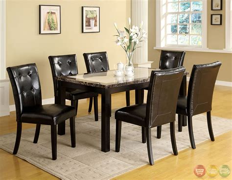 Atlas I Contemporary Black Casual Dining Set With Faux Marble Dining Room Table Set