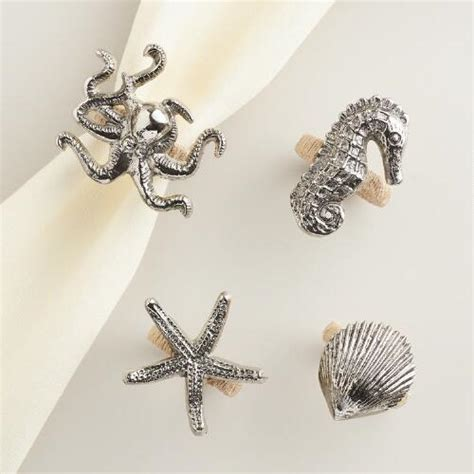 To Market Oscar Napkin Rings by Sea Creatures Napkin Rings Set Of 4 World Market