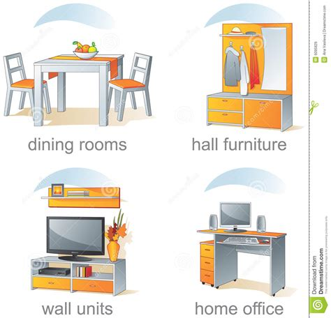icon set home furniture items royalty free stock images