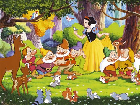 snow white  dwarfs bambi   animals   forest desktop hd wallpaper  pc tablet