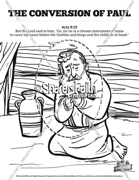 Acts 5 Coloring Pages by Acts 9 Paul S Conversion Sunday School Coloring Pages