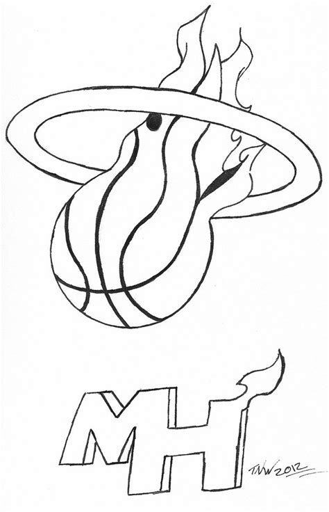 miami heat logo free coloring pages