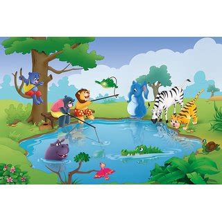 buy walls  murals animals fishing  pond kids peel